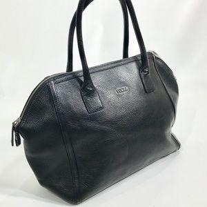 Furla Large Black Pebbled Leather Handbag Purse